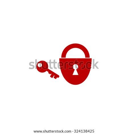 Padlock and key. Red flat icon. Illustration symbol on white background - stock photo