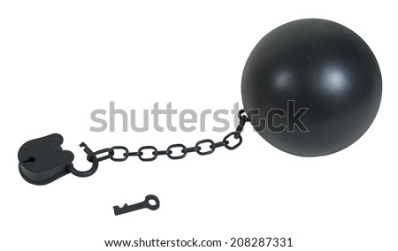 Padlock and key with large metal ball and chain made to hamper movement - path included - stock photo