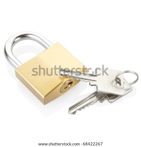 Padlock and keys isolated on white, clipping path included - stock photo