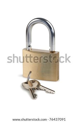 Padlock and keys on a white background - stock photo