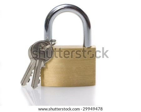 Padlock and keys on a white reflective surface