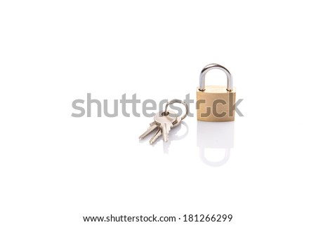 Padlock and keys over white background - stock photo