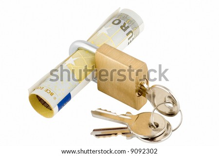 Padlock and keys with banknote inside over white background - stock photo