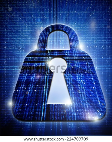 padlock digital security concept iluustration - stock photo