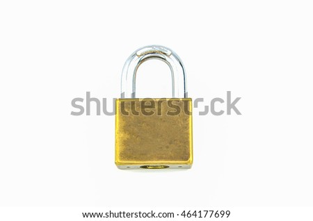 padlock golden metal  isolated on white background.