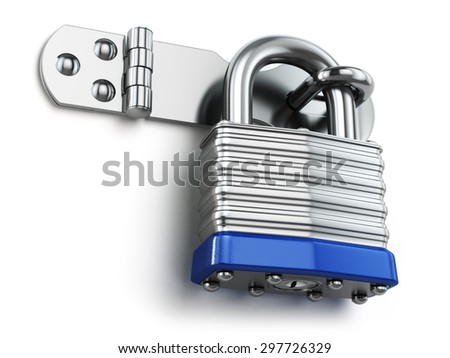 Padlock hanging on lock hinge. Security concept. 3d - stock photo