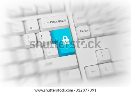 Padlock icon on a colorful turquoise blue computer key on a white keyboard with blur and selective focus conceptual of online safety, security and privacy, close up high angle view. 3d Rendering. - stock photo