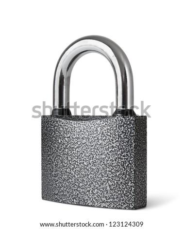 padlock  isolated on white background - stock photo