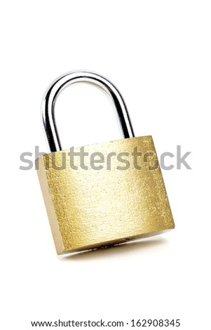 Padlock isolated on white background with natural shadow - stock photo