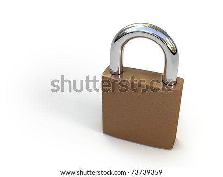 Padlock isolated on white . Security concept. High quality 3D render.