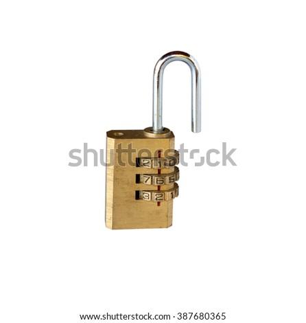 padlock key with combination code lock, isolated on white background - stock photo