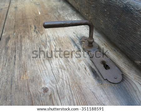 padlock latch chain iron - stock photo