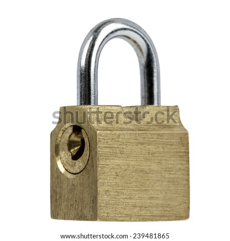 Padlock made according to old technology, isolated on white background - stock photo