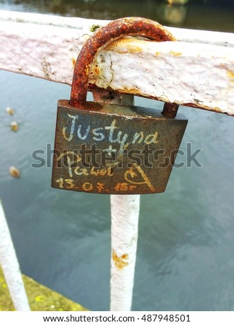 padlock on a bridge