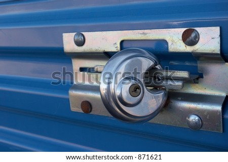 Padlock on a storage locker