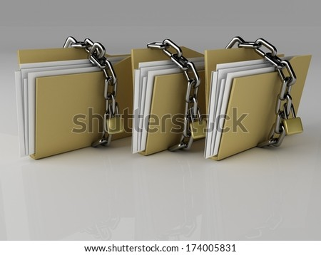 Padlock on folder, Illustration - stock photo
