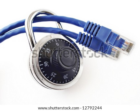 Padlock on two network cables, - stock photo