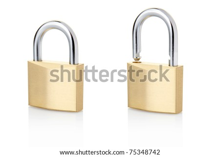Padlock open and closed isolated on white, clipping path included - stock photo