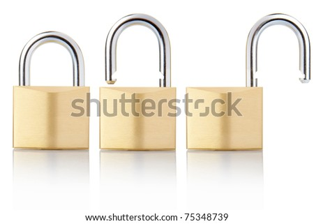 Padlock open and closed set isolated on white, clipping path included - stock photo