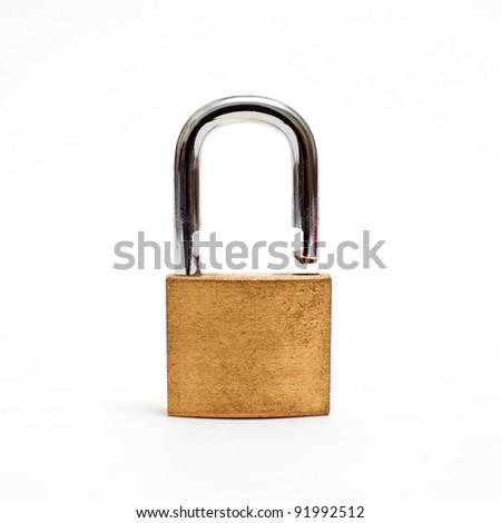 Padlock open over white background - stock photo