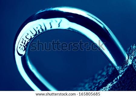 Padlock. Security concept. Pincushion lens use. - stock photo