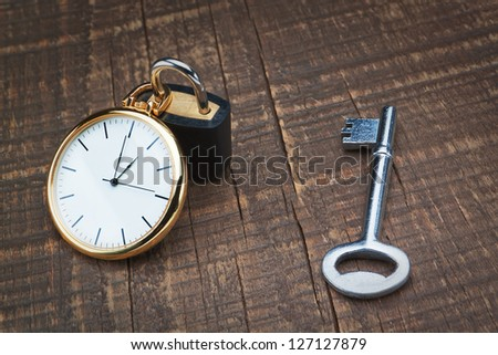Padlock store time and the key controls. The concept time management. - stock photo