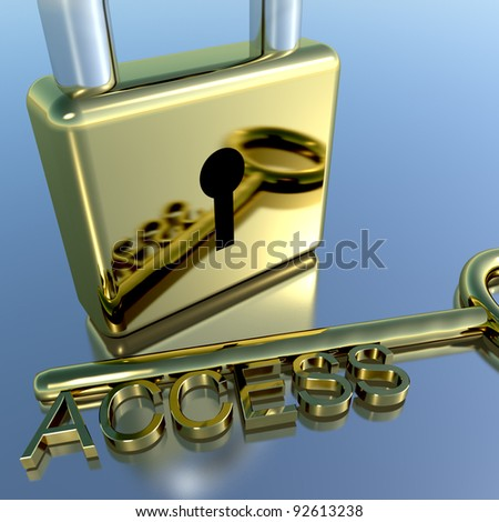 Padlock With Access Key Showing Permission Security And Logins - stock photo