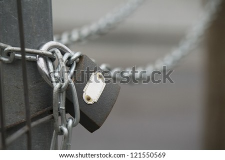 Padlock with chain - stock photo