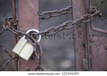padlock with chain - stock photo