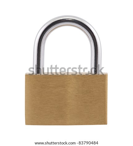 Padlock with clipping path - stock photo