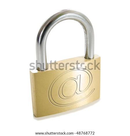 padlock with internet symbol security - stock photo