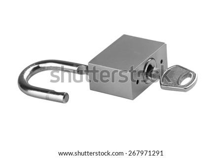 Padlock with key isolated on a white background - stock photo