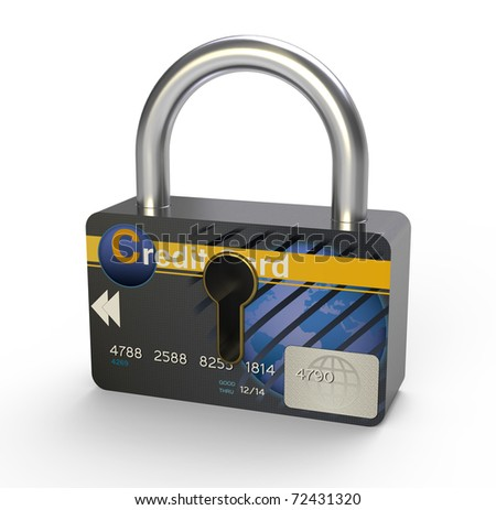 Padlock with keyhole showing credit card. - stock photo