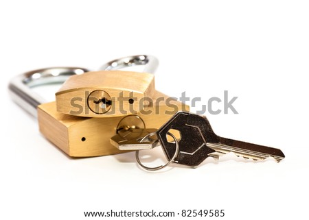 padlock with keys on a white background - stock photo