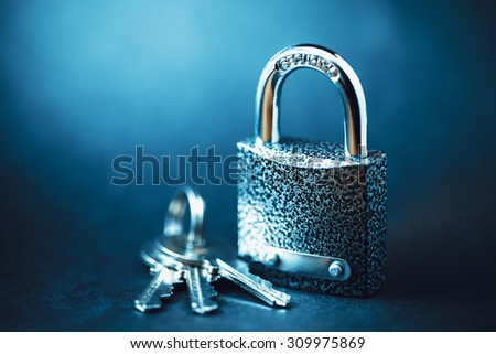 Padlock with keys. Security concept. - stock photo