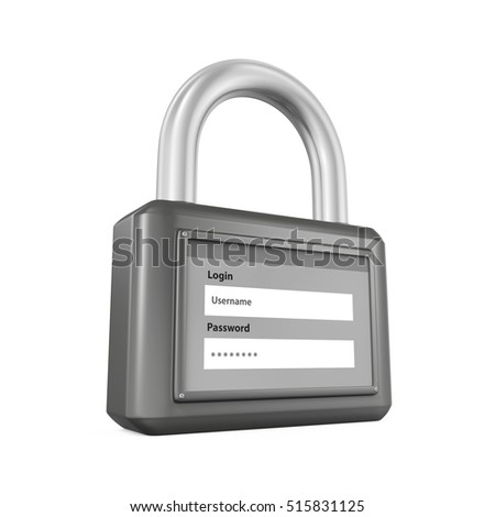 Padlock with Login and Password. 3D rendering