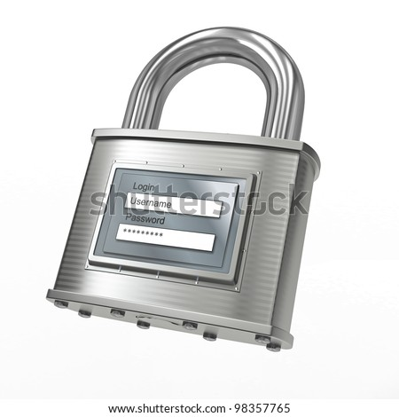 Padlock with login and password on white isolated background. 3d - stock photo