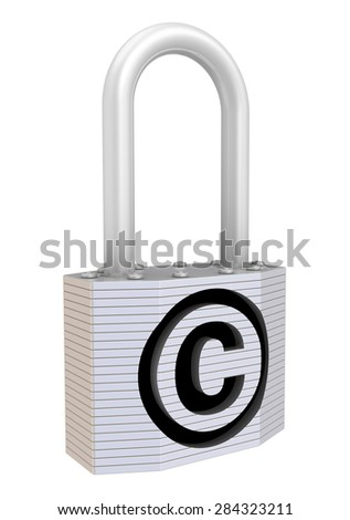 Padlock with the symbol of copyright protection. Isolated. Concept