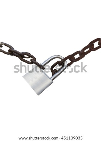 Padlocked chain isolated in white background