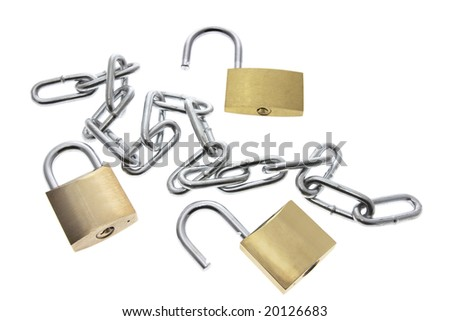 Padlocks and Chain on White Background