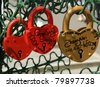 padlocks in the shape of a heart - a symbol of eternal love and union - stock photo
