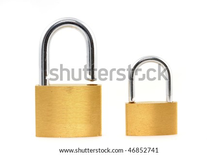 Padlocks on white background