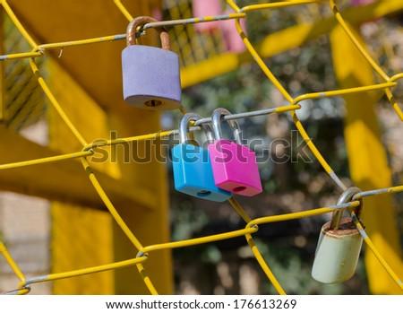 Padlocks, symbols of love. - stock photo