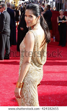 Padma Lakshmi at the 60th Primetime Emmy Awards held at the Nokia Theater in Los Angeles, USA on September 21, 2008.