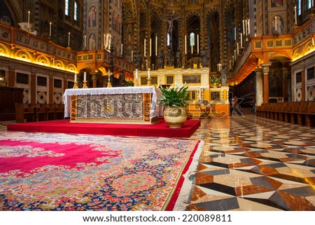 PADOVA, ITALY - AUGUST, 24: Interior of the Pontifical Basilica of Saint Anthony of Padua on August 24, 2014 - stock photo