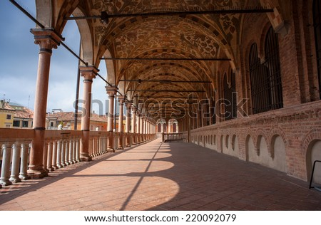 PADOVA, ITALY - AUGUST, 28: View of the Palazzo della Ragione on August 28, 2014 - stock photo