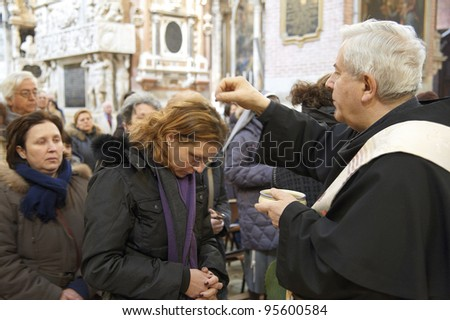 PADUA,ITALY - MAR,09:Half day of the Lent,rite of Ashes,the faithfull will anoint the head with ash,  March 09,2011 in Padua,Italy