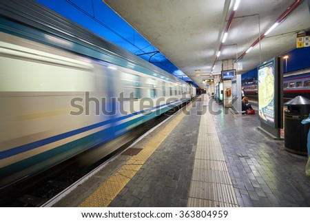 PADUA, ITALY - SEPTEMBER 12, 2014: Padua railway station at night. Padua is a city and comune in Veneto, northern Italy