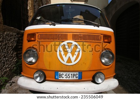 PADUA, ITALY - SEPTEMBER 17, 2009: VW Transporter T2 van parked in Padua, Italy. T2 is still produced in Brazil, but after 63 years, production is soon to be halted. - stock photo