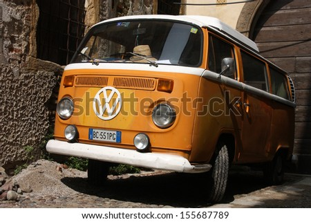 PADUA, ITALY - SEPTEMBER 17: VW Transporter T2 van parked on September 17, 2009 in Padua, Italy. The famous van is currently considered a classic oldtimer, popular with collectors. - stock photo